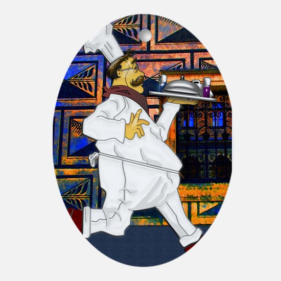 Chef on the run Ornament (Oval)