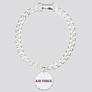 Air Force Zebra Maroon Charm Bracelet, One Charm