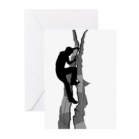 Rock Climbing Silhouette Greeting Cards (Pk of 10)