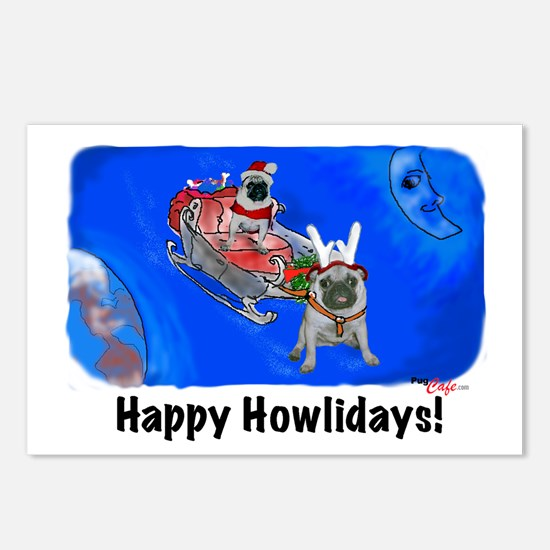 Howliday Pugs Postcards (Package of 8)