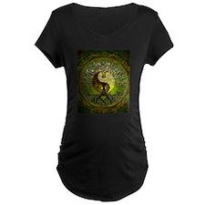 Yin Yang Green Tree of Life Maternity T-Shirt