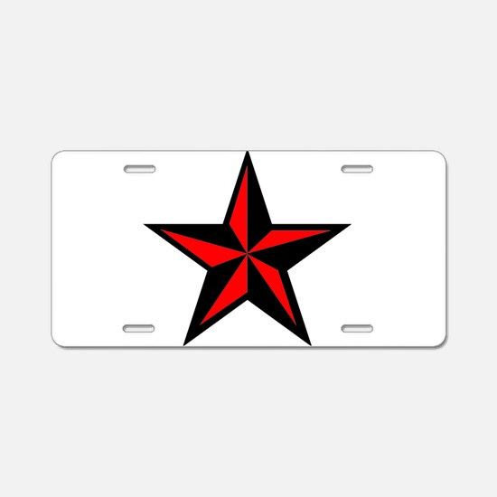 Punk Rock Red Nautical Star Aluminum License Plate