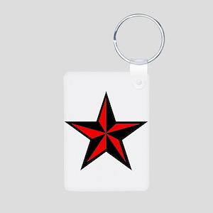 Punk Rock Red Nautical Star Aluminum Photo Keychai