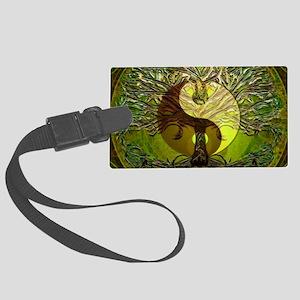 Yin Yang Green Tree of Life Luggage Tag