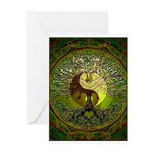 Yin Yang Green Tree of Life Greeting Cards