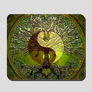 Yin Yang Green Tree of Life Mousepad