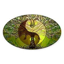 Yin Yang Green Tree of Life Sticker