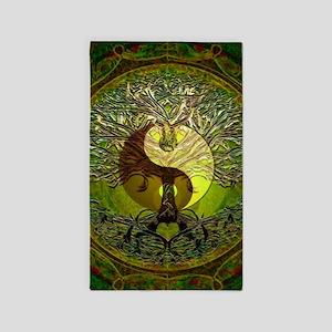 Yin Yang Green Tree of Life Area Rug
