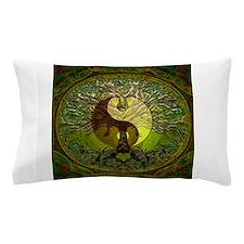 Yin Yang Green Tree of Life Pillow Case