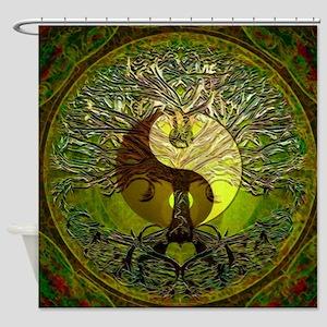 Yin Yang Green Tree of Life Shower Curtain