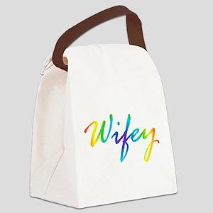 rainbow wifey lesbian couple Canvas Lunch Bag