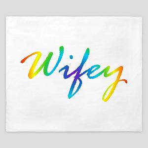 rainbow wifey lesbian couple King Duvet