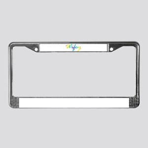 rainbow wifey lesbian couple License Plate Frame