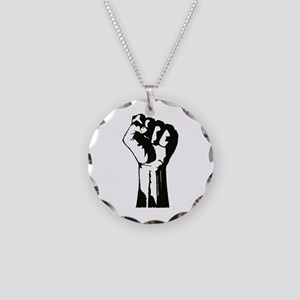 Fist Necklace Circle Charm