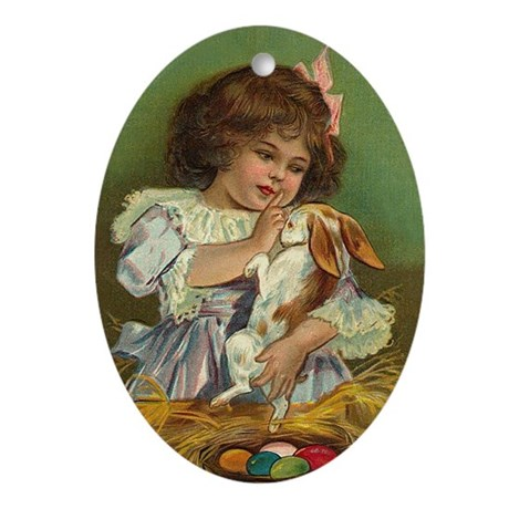 Easter Bunny Oval Ornament