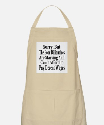 Billionaires Can't Afford Wages Apron