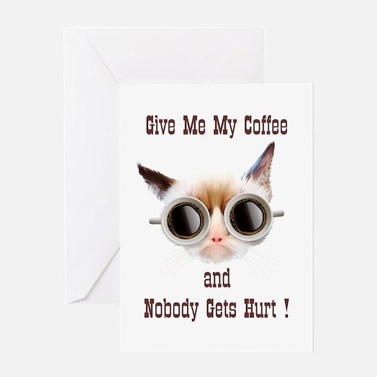 Grumpy Coffee Cat Greeting Card