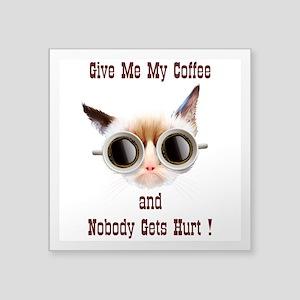 "Grumpy Coffee Cat Square Sticker 3"" x 3"""