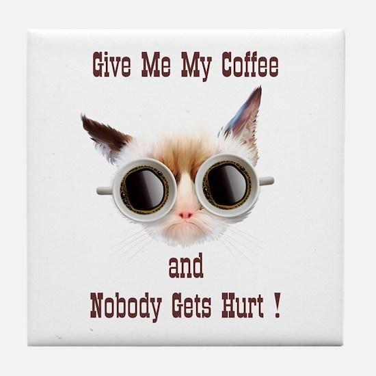 Grumpy Coffee Cat Tile Coaster