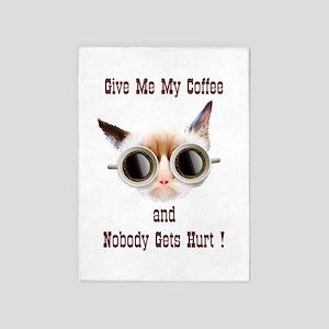 Grumpy Coffee Cat 5'x7'Area Rug