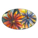 Bright Colored Daisies Oval Sticker