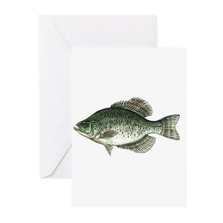 Black Crappie Fish Greeting Cards (Pk of 10)