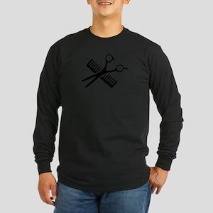 Comb & Scissors Long Sleeve Dark T-Shirt