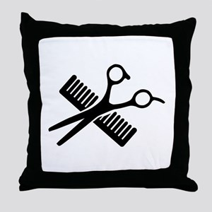 Comb & Scissors Throw Pillow
