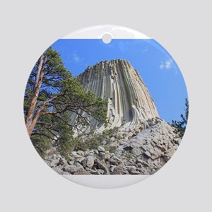 Devils Tower 3 Round Ornament
