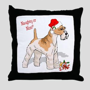 Fox Terrier Naughty/Nice Throw Pillow