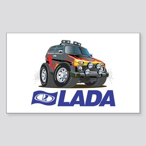 Cool Lada Niva with Lada Logo Sticker (Rectangle)