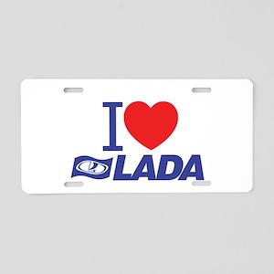 I Love Lada Aluminum License Plate