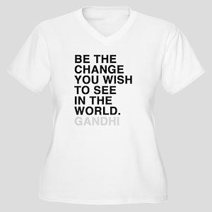 gandhi quotes Women's Plus Size V-Neck T-Shirt
