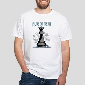 Black Queen Chess Mate White T-Shirt