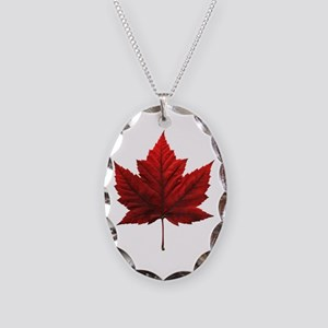 Canada Maple Leaf Souvenir Necklace Oval Charm
