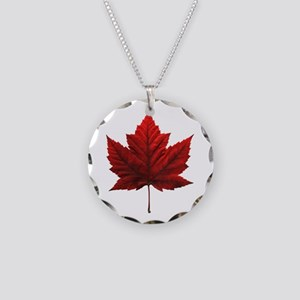 Canada Maple Leaf Souvenir Necklace Circle Charm