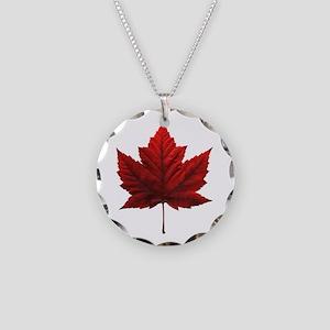 Canada Maple Leaf Souvenir Necklace Circle Charm