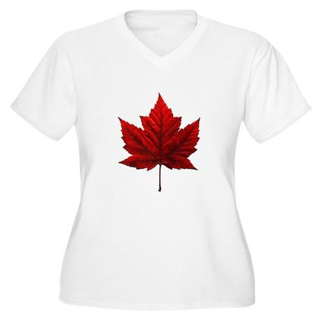 Canada Maple Leaf Women's Plus Size V-Neck T-Shirt