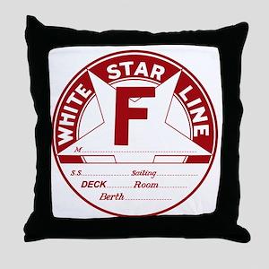 White Star Line Luggage Tag- No Name Throw Pillow