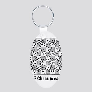 Chess is Easy! Aluminum Oval Keychain