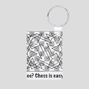 Chess is Easy! Aluminum Photo Keychain