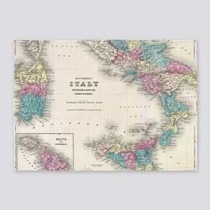 Vintage Map of Southern Italy (1855 5'x7'Area Rug