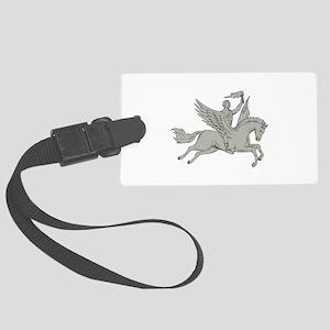 Bellerophon Riding Pegasus Holding Torch Drawing L