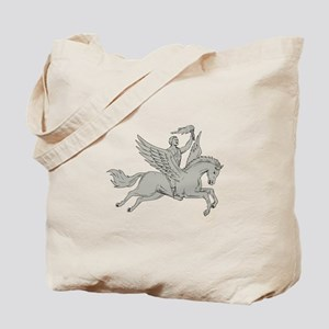 Bellerophon Riding Pegasus Holding Torch Drawing T