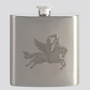 Bellerophon Riding Pegasus Holding Torch Drawing F