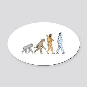 Human Evolution Walking Drawing Oval Car Magnet