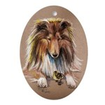 Collie with Duckling Oval Ornament