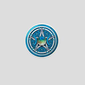 Blue Triple Goddess Pentacle Mini Button