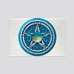 Blue Triple Goddess Pentacle Rectangle Magnet