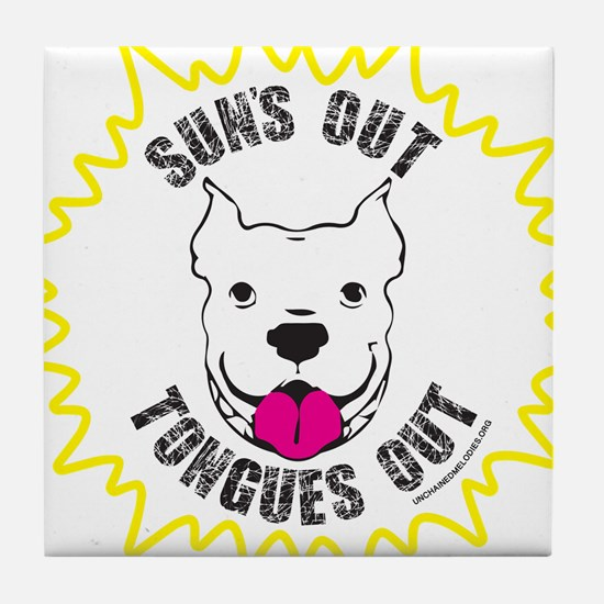 Sun's Out Tongues Out Tile Coaster